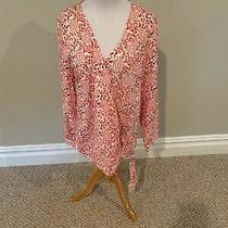 Gap Maternity Red and White Paisley v-Neck Linen Blend Knit Top Women's Size L Photo