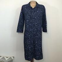 Gap Maternity Shirt Dress Sz Xs 100% Cotton Button Down Floral Side Slits 3/4 Sl Photo