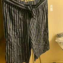 Gap Maternity Stripe Wide-Leg Crop Pants in Linen Photo