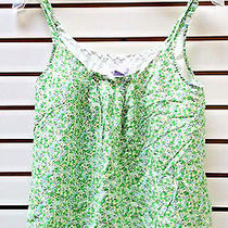 Gap Maternity Tank Top Cami Size S Green Floral Cotton/silk Light & Cool Clean Photo