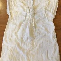 Gap Maternity Women White Flutter Sleeve Tunic With Front Tie Small Nwot Photo