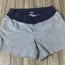 Gap Maternity Womens Denim White Stripe Shorts Size 12 Stretch Low Rise Photo