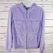 Gap Maternity Womens Lavender Corduroy Zip Front Hooded Jacket Size Xs Photo