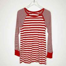 Gap Maternity Womens Red Cream Striped Cotton Crew Neck Thermal Top Shirt Medium Photo