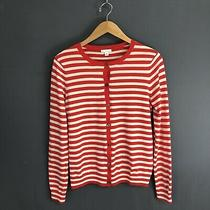 Gap Medium Striped Cardigan Sweater Merino Wool Blend Red 65 Photo