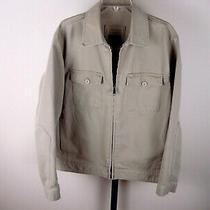 Gap Men's Cotton Jacket Coat Beige Khaki Twill Casual Vintage Full Zip  Photo