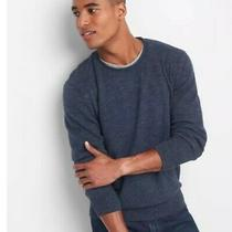 Gap Mens Crewneck Knit Pullover Long Sleeve Rolled Neck Sweater Navy Heather Xl Photo