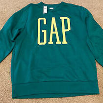 Gap Men's Green Pullover Sweatshirt Crew Neck Large L New Fleece Logo Photo