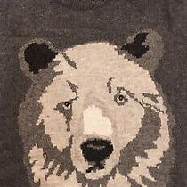 Gap Men's Large Read Bear Face Lambs Wool Blend Gray Crewneck Sweater  Photo