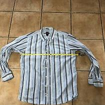 Gap Mens Long Sleeve Button Front Up Down Dress Shirt the Vintage Top White Blu Photo
