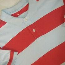 Gap Men's Polo Shirt Size L Short Sleeve Light Blue Red Strip 100% Cotton Euc Photo