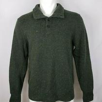 Gap Men's Size Medium Green Sweater Pullover Long Sleeve 1/4 Button Front  Photo