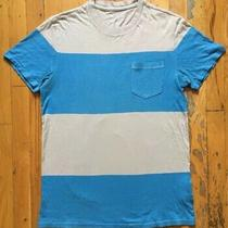 Gap Men's Small Crewneck T-Shirt Gray and Blue Horizontal Striped Pocketed Tee Photo