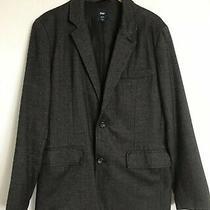 Gap Mens Grey Herringbone Blazer Elbow Patches Size Large 42r Jacket Sports Coat Photo