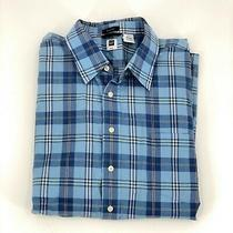 Gap Mens Plaid Short Sleeve Button Up Blue and White Shirt Blue Size Xxl Photo