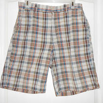 Gap Mens Sz 32 Shorts Flat Front Brown Tan Rust and Blue Photo