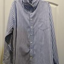 Gap Mens Xxl Long Sleeve Oxford Button Front Shirt Blue Stripe Photo
