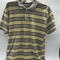 Gap Mens Yellow and Tan Striped Pullover Short Sleeves Shirt W Collar Size Xl Photo