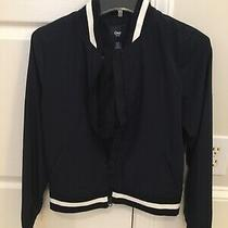 Gap Navy Short Light Varsity Jacket Navy Blue Size Xs Photo