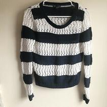 Gap Navy White Striped Open Knit Pullover Sweater Size Small Photo