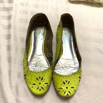 Gap Neon Yellow Patent Leather Cut Out Ballet Flats Womens Size Us 7.5 Photo