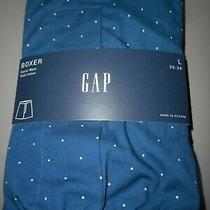 Gap Nwt Men's Large 35 36 Waist Navy Blue W Tiny White Polka Dots Cotton Boxer  Photo