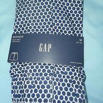 Gap Nwt Men's Medium 32 33 34 Waist White With Navy Blue Circles Cotton Boxer  Photo