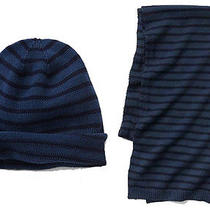 Gap Nwt Mens Blue Navy Stripe Spring Beanie Hat & Scarf  Photo