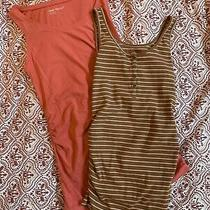 Gap Old Navy Maternity 2 Tank Tops Small Mustard Stripe Coral Guc Layer Stretch Photo