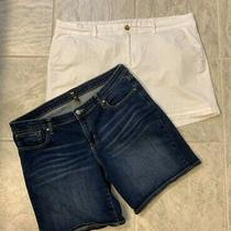 Gap & Old Navy Women's Lot/2 Denim Cotton Shorts Size 16 Denim & White Cotton Photo