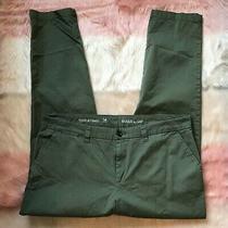 Gap Olive Green Khaki Pants Broken in Straight Leg 97% Cotton 3% Spandex Size 14 Photo