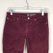 Gap Pants Womens Size 2 Always Skinny Corduroy Ruby Wine Mid Rise Career Casual  Photo