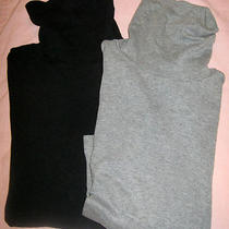 Gap Pima Cotton Turtleneck Set Size Small 2 Pcs Gray Black 3/4 Sleeve Shirts  Photo