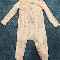Gap Pink Bear Footed Pajamas Mittens 3-6 Months Girl Photo