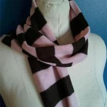 Gap Pink Brown Striped Scarf Wool Blend 8 1/2