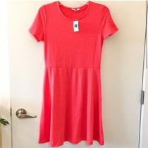 Gap Pink Coral Knit T-Shirt Fit & Flare Skater Dress Small Photo