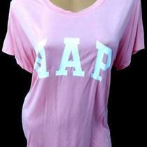 Gap Pink White Nap Short Sleeves Round Neck Women's Plus Sleepwear Tee Top L Photo