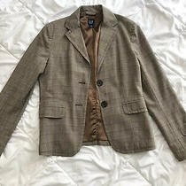 Gap Plaid Brown Plaid Blazer Size 8 Wool Blend Photo