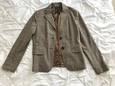 Gap Plaid Brown Plaid Blazer Size 8 Wool Blend Photo