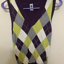 Gap Plaid/purple Swearsr Vest Size Xs Photo