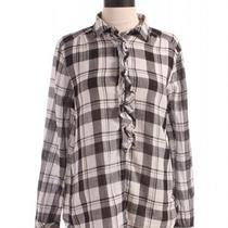 Gap Plaid Ruffle Button Up Top Sz L Black and White Photo