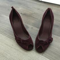 Gap Plum Suede Wedge Heel Peep Toe Pump Slip-on Shoes - Size 7 Photo