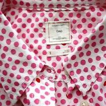 Gap Polka Dot  White/pink/orange Shirt Top Size S Fitted Boyfriend Cotton  Photo