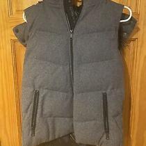 Gap Primaloft Womens Faux Fur Trim Wool Puffer Vest Heather Grey Small Hood Photo
