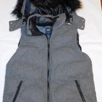 Gap Puffer Vest Primaloft Down Alternative Removable Faux Fur Hood Medium M Photo