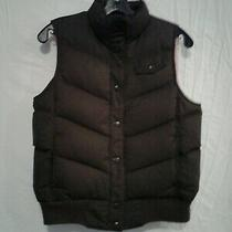 Gap Puffer Vest Woman's Xs Chocolate Brown Pink Lining Snap Front Warm Photo