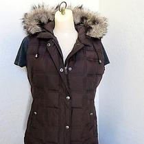 Gap Quilted Puffer Vest Hood Zip With Snap Wind Flap and Removable Fur Womens M Photo