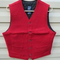 Gap Quilted Red Fuzzy Vest - Small Photo