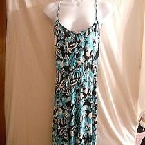 Gap Racer Back Sun Dress Size S Black/blue/white Flowy Skirt Photo