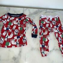 Gap Red Christmas Pajama Set Long Sleeve Pants & Top 12-18 Months Photo